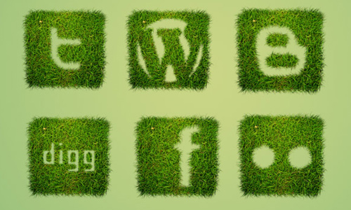 Free Grass Textured Social Bookmarking Icon Set