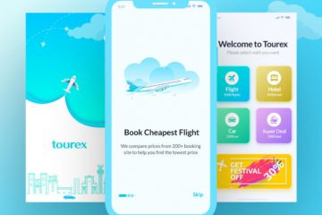 Free Tourex Flight Booking App Design Template