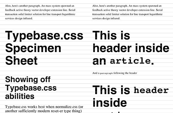 Typebase.css for Typography
